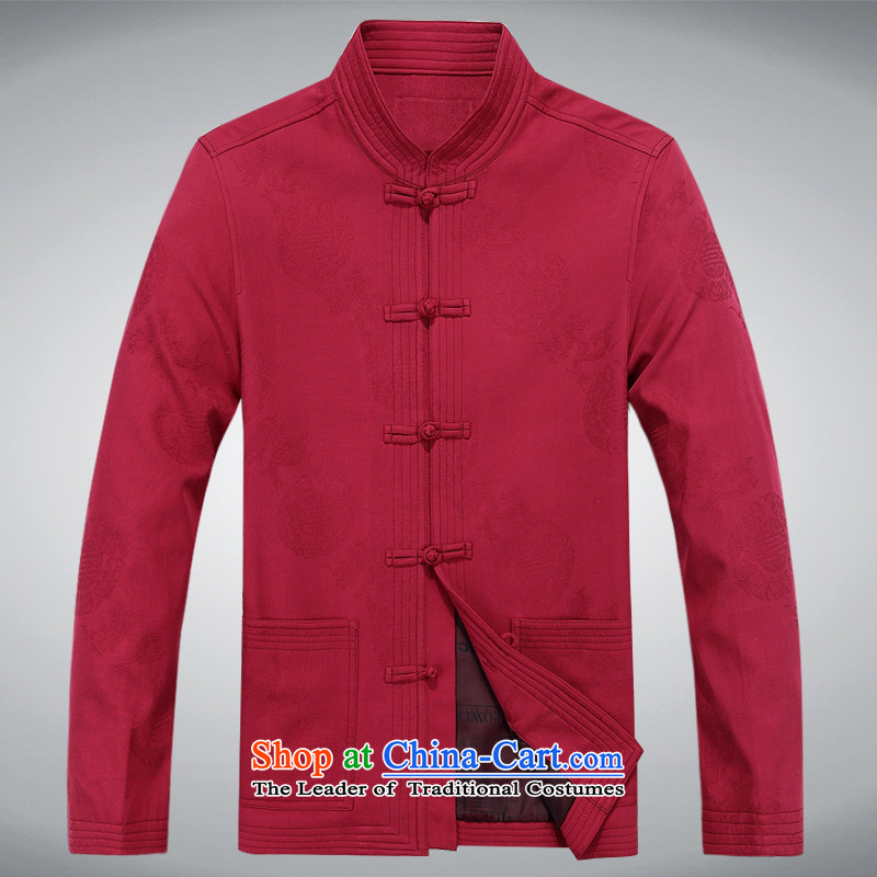 Tang dynasty China wind?2015 autumn and winter New Man Fu Shou long-sleeved pure cotton jacket red?XXXL Tang