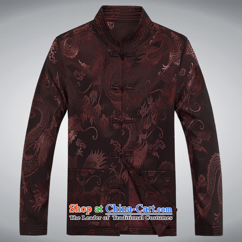 2015 Autumn and Winter New Man Fu Shou long-sleeved jacket in Tang elderly men Tang jacket coffee-colored�M