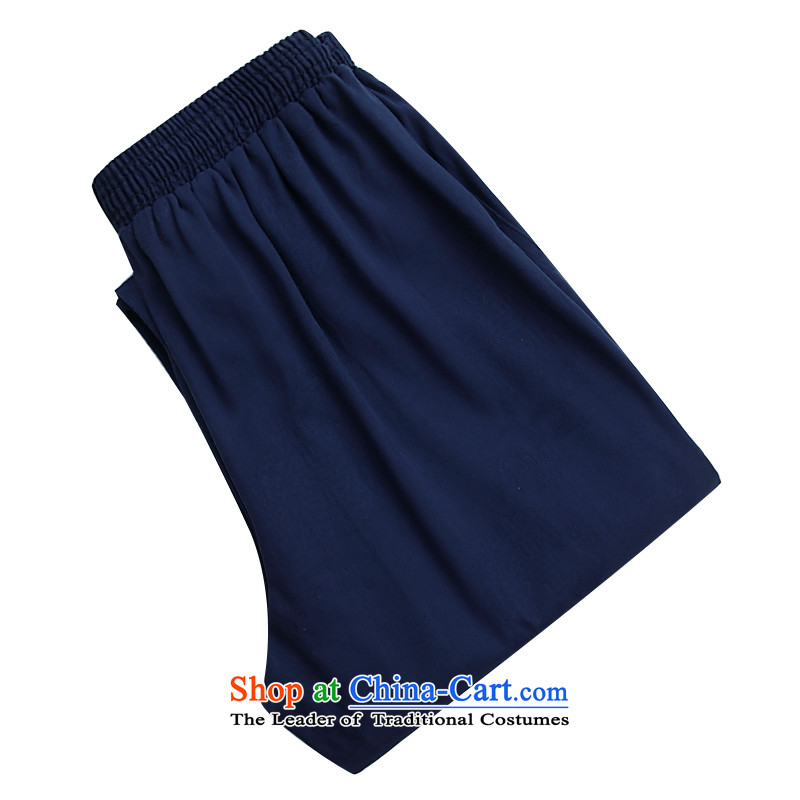 2015 Autumn and Winter, older men's trousers, leisure leisure Tang Dynasty Chinese men's trousers, a blue?XXXL