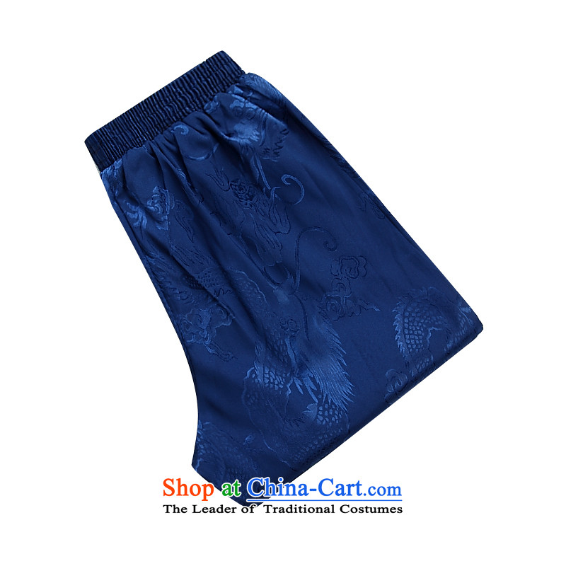 Summer men casual pants elastic waist to intensify the Tang Dynasty Chinese men's trousers, a blue聽XXL