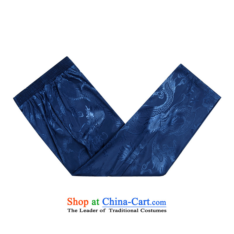 Summer men casual pants elastic waist to intensify the Tang Dynasty Chinese men's trousers, a blue聽XXL, Hei concentric , , , shopping on the Internet