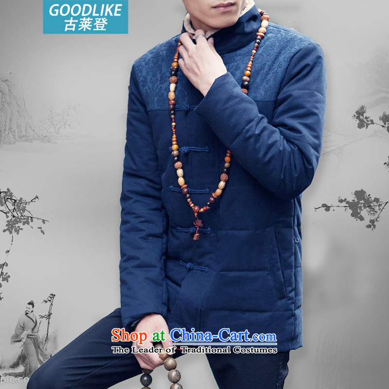Goulley Log 2015 winter clothing and Tang dynasty Chinese tunic retro leisure China wind up large clip cotton men blue?L(110-120 catties)