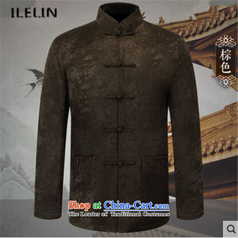 Ilelin2015 autumn and winter New China wind Men's Mock-Neck retro long-sleeved jacket from older Tang larger father brown shirt燲XXL Jacket