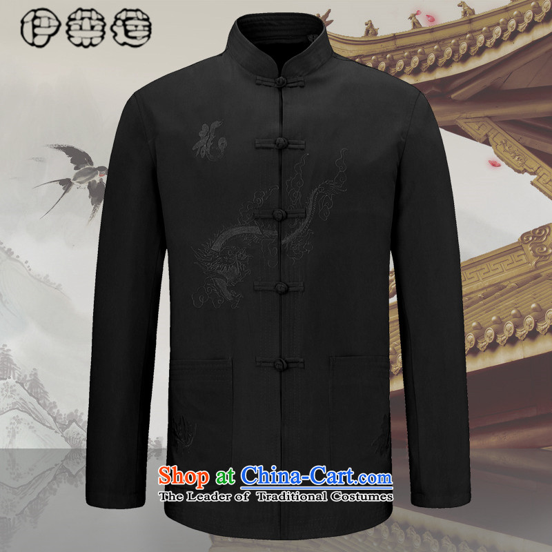Hirlet Ephraim , men fall 2015 kit in older long-sleeved father installed China wind men's jackets of older persons fall shirt grandpa blouses classic black 180