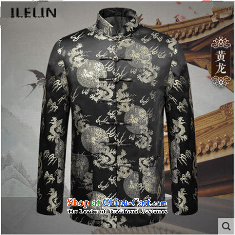Ilelin2015 autumn and winter new long-sleeved Men's Mock-Neck elderly people in the Chinese Tang dynasty birthday China wind retro grandfather Han-jacket Huanglong聽190