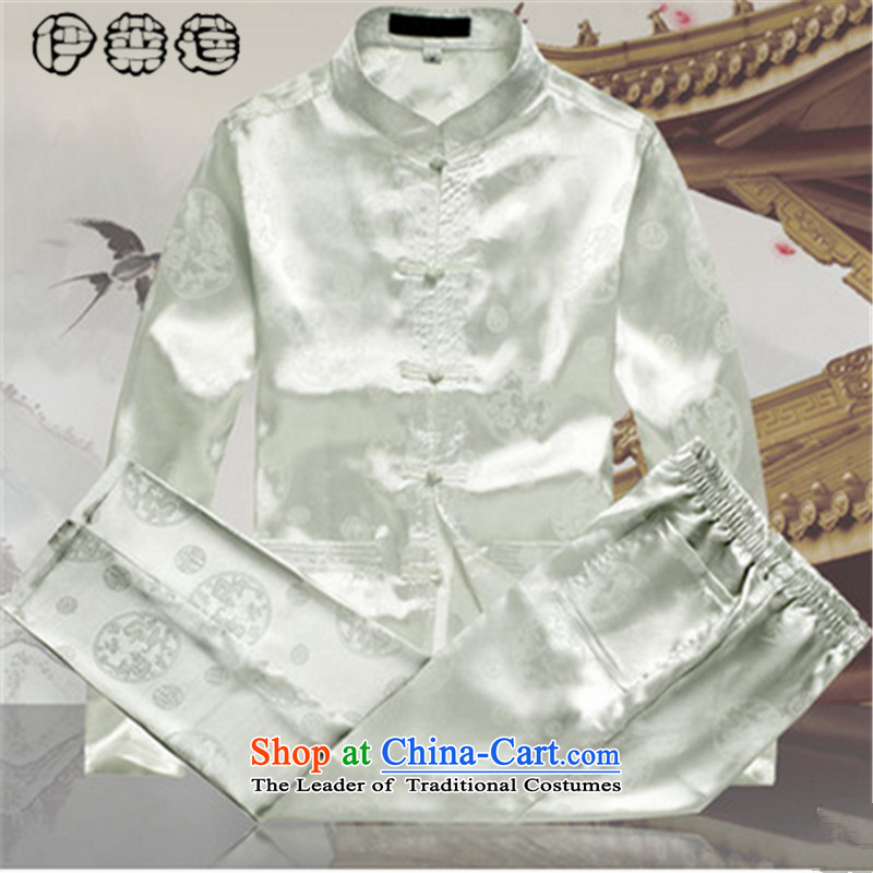 Hirlet Ephraim?2015 autumn in the Tang dynasty older persons long-sleeved kit men China wind Men's Mock-Neck Leisure Tang dynasty elderly grandparents replacing white light clothes embroidery?42/185