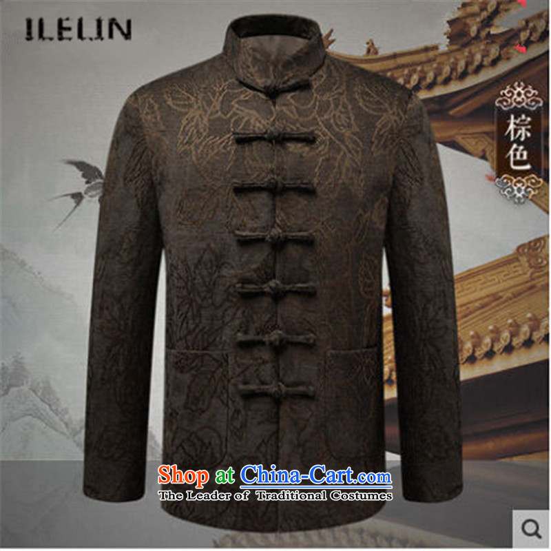 Ilelin2015 autumn and winter New Men China wind long-sleeved jacket in Chinese elderly retro collar father Tang blouses brown 170