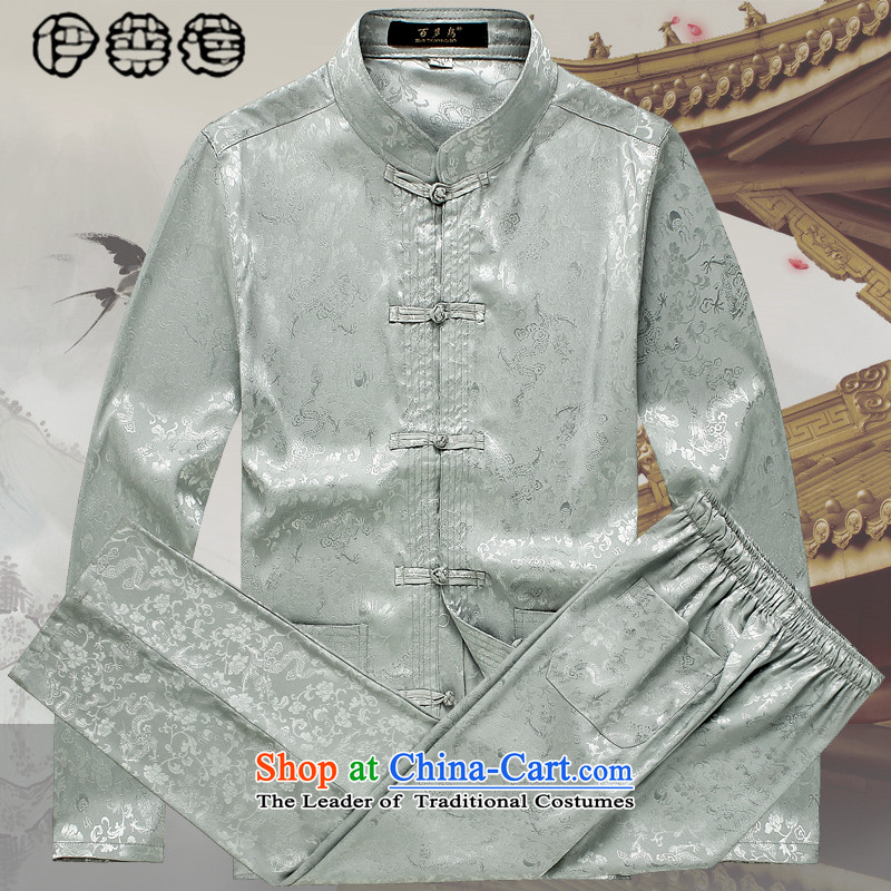 Hirlet�autumn 2015, Ephraim men of older persons and Tang Dynasty Package for long-sleeved older emulating silk China wind men's grandfather father casual stamp kit classic gray�180/XL