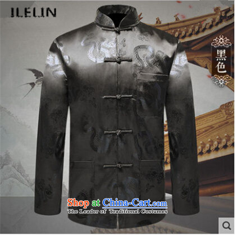 Ilelin2015 autumn and winter in the new age of birthdays long-sleeved dress jacket Chinese Antique collar father men Tang-pack Black 175
