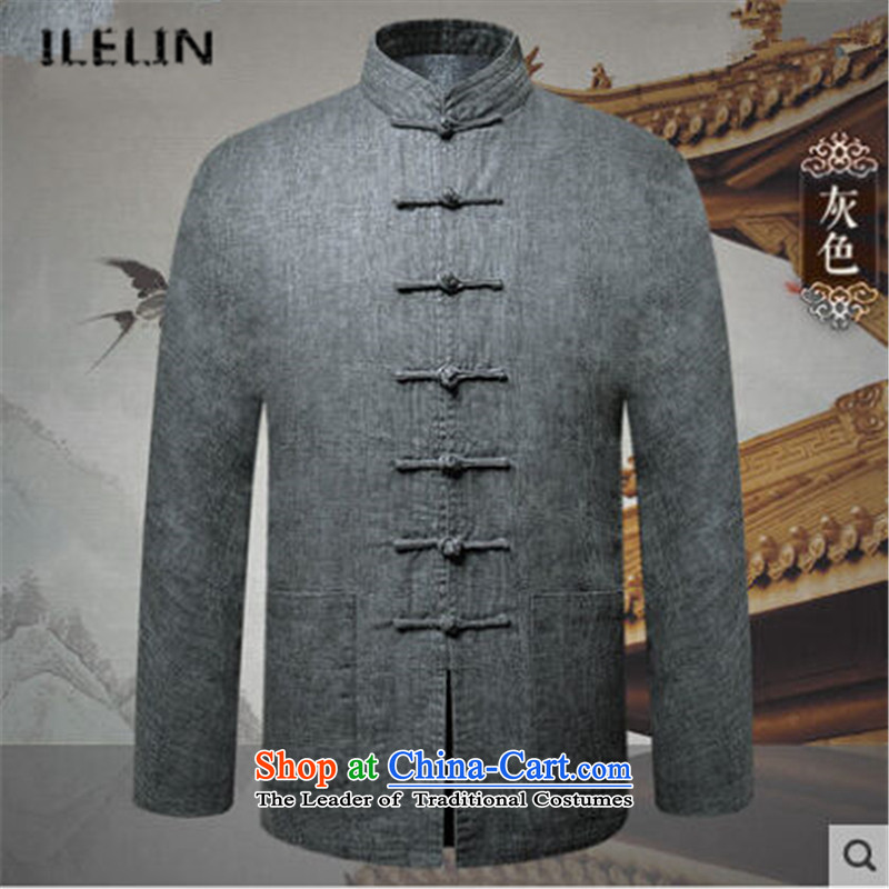 Ilelin2015 autumn and winter in the new age of nostalgia for the long-sleeved jacket Chinese leisure Tang pockets father Han-improved cardigan gray 190