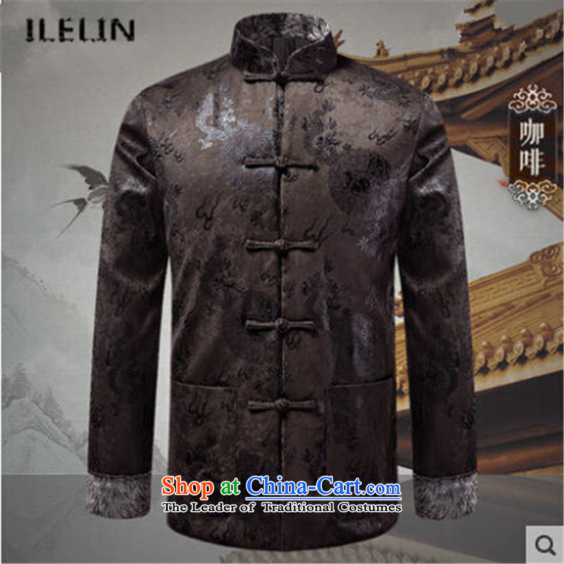 Ilelin2015 autumn and winter new men retro China wind long-sleeved father Tang jackets Chinese Mock-Neck Shirt casual coffee grandpa聽L