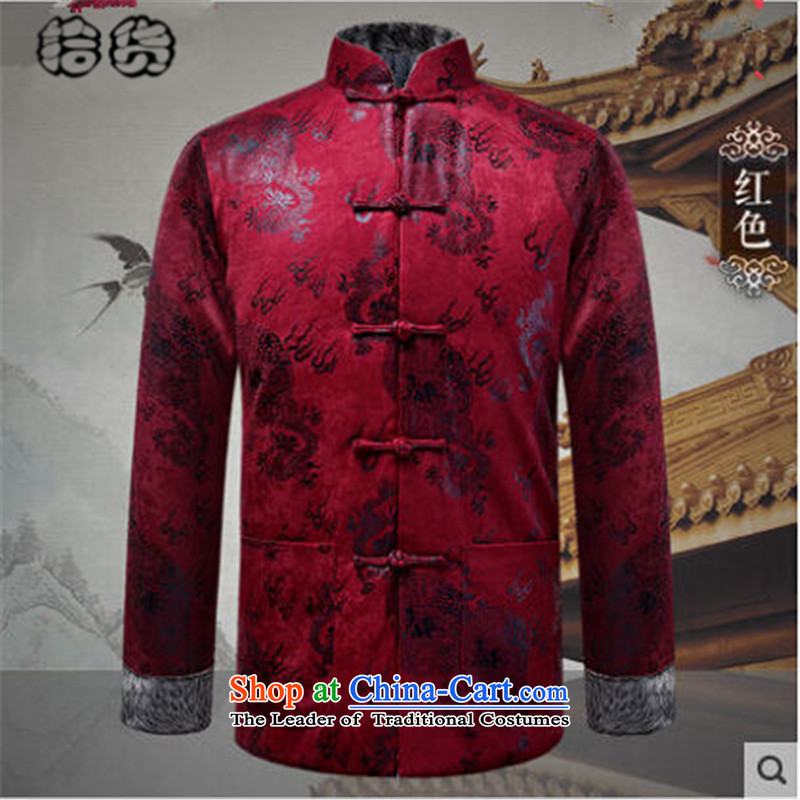 Pick the 2015 autumn and winter New China wind load father men Tang Jacket Chinese elderly in buttoned, rom stitching long-sleeved sweater red�XL