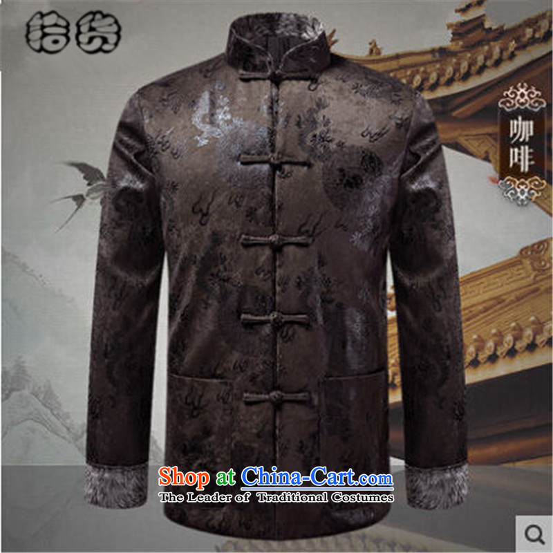 Pick the 2015 autumn and winter New China wind load father men Tang Jacket Chinese elderly in buttoned, rom stitching long-sleeved sweater red聽XL, pickup (shihuo) , , , shopping on the Internet