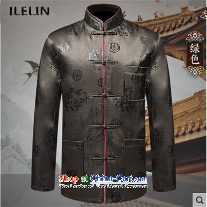 Ilelin2015 autumn and winter new men more pocket retro collar long-sleeved Chinese Tang dynasty China wind father leisure jacket Green聽180