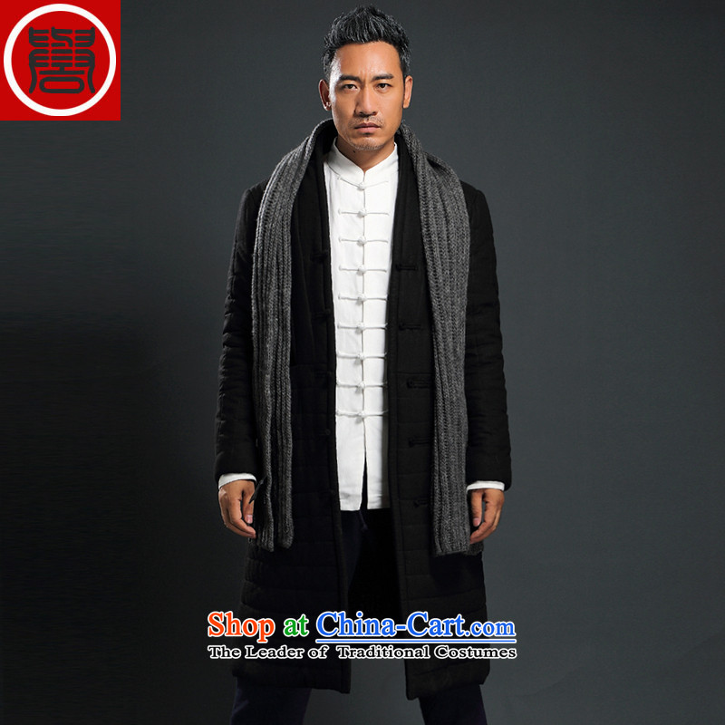 Renowned men Tang Dynasty Chinese tunic loose in the long coat male cotton coat winter China wind-thick cotton in older Chinese men's jackets black robe XXL