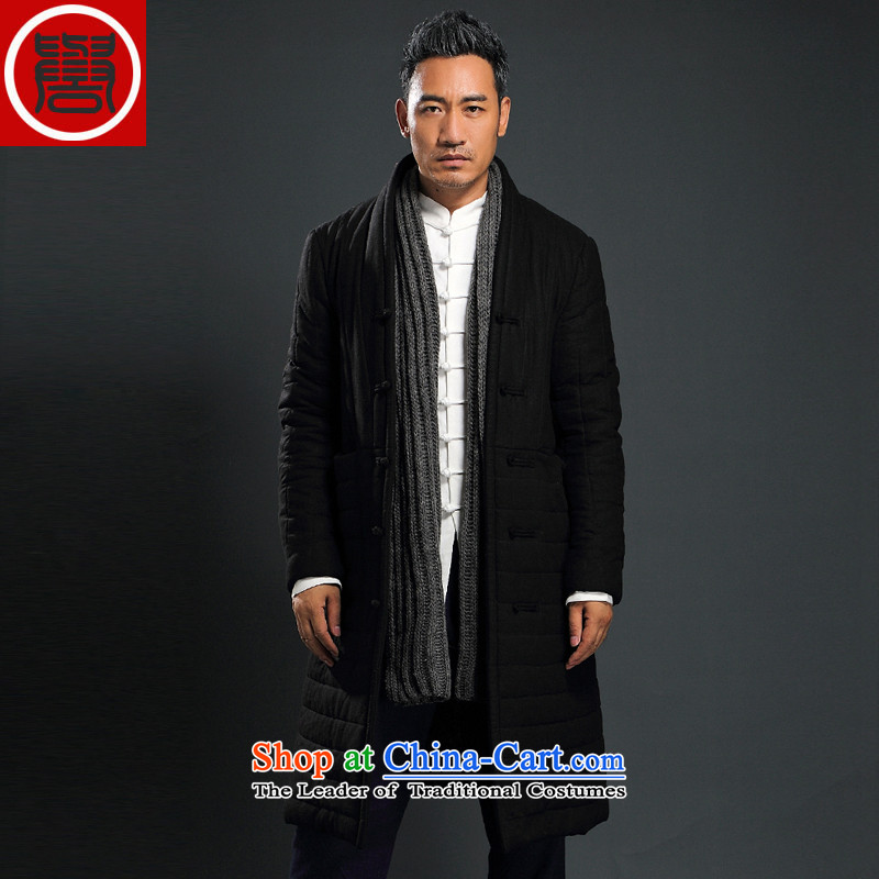 Renowned men Tang Dynasty Chinese tunic loose in the long coat male cotton coat winter China wind-thick cotton in older Chinese men's jackets black robe聽XXL, renowned (CHIYU) , , , shopping on the Internet