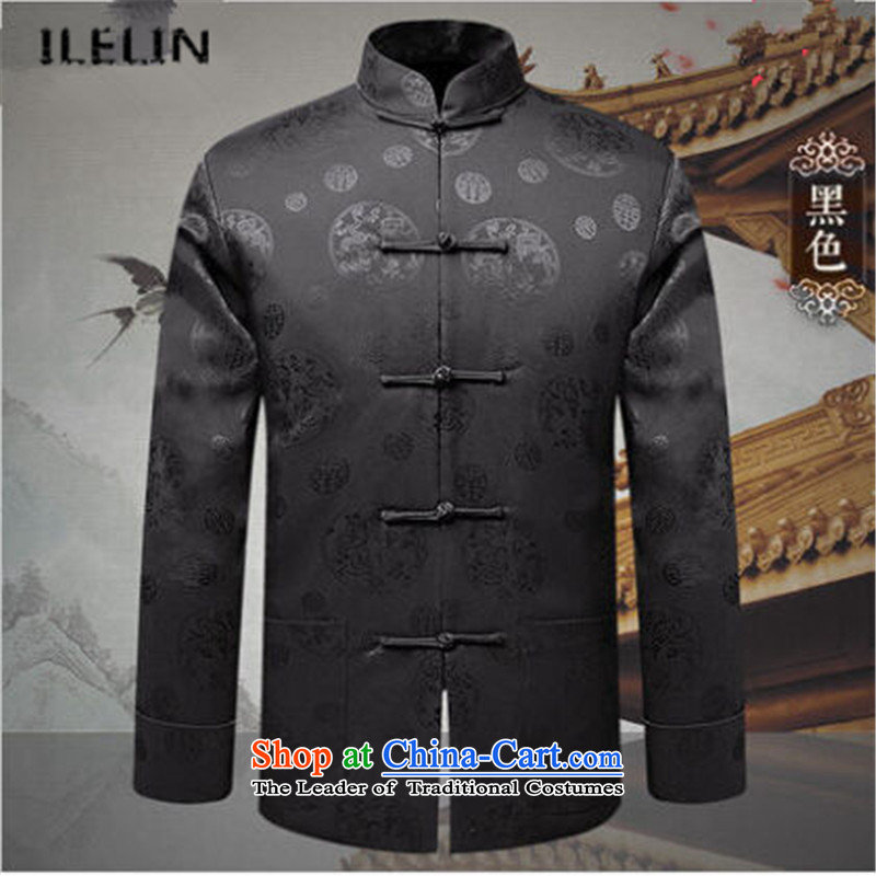 Ilelin2015 autumn and winter new long-sleeved men father Han-chinese improvements in older retro jacket collar leisure Tang Blouses Black 180