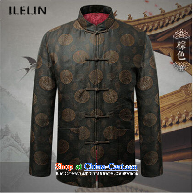 Ilelin2015 autumn and winter New China wind in long-sleeved jacket older father Tang Chinese antique grandfather leisure Mock-Neck Shirt Brown 185