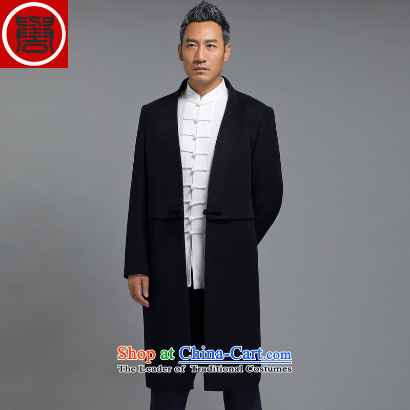Renowned winter wool a wool coat jacket and Tang dynasty Chinese tunic male China wind Han-wool velvet cloak men in this Long Hoodie Tibetan blue?XL