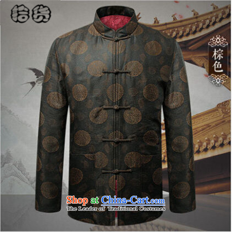 Pick the 2015 autumn and winter New China wind load father men jacket coat the elderly in the Tang Dynasty Grandpa Tray Tie long-sleeved jacket coat of older persons brown 180