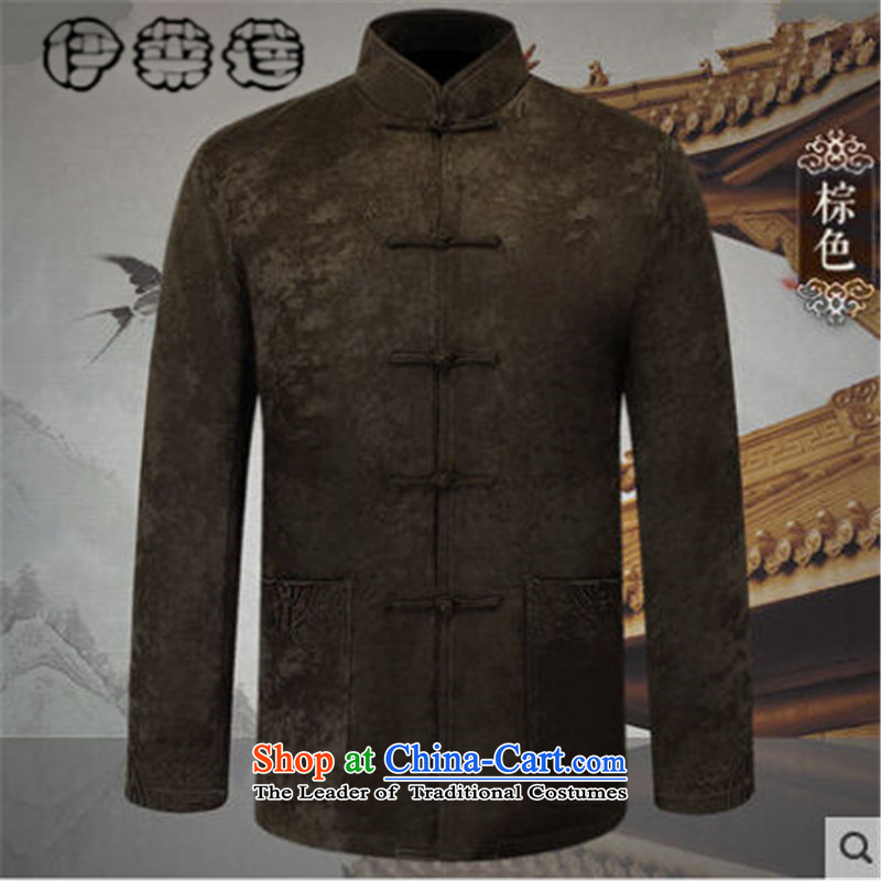 Hirlet Ephraim�autumn 2015 installed new men in the jacket Tang Older long-sleeved sweater China wind pure color with minimalist nation father wind men brown�XXL