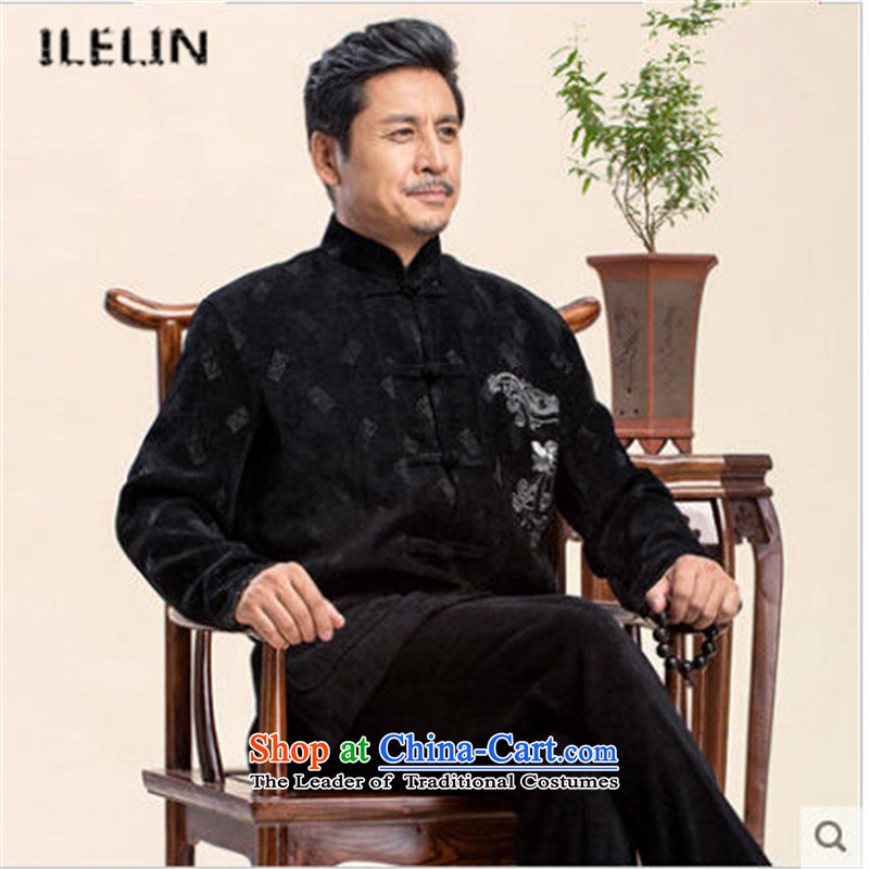 Ilelin2015 autumn and winter New China wind classical dragon design long-sleeved jacket in Tang Dynasty father older Chinese Mock-Neck Shirt black聽XXXXL Grandpa
