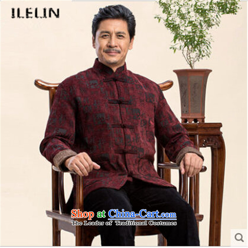 Ilelin2015 autumn and winter in the new Large Older long-sleeved shirt father Chinese classical antique collar grandfather Tang jackets wine red燣