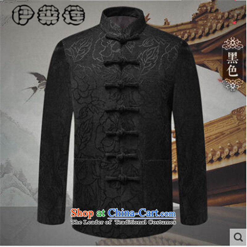 Hirlet Ephraim 2015 autumn and winter in older men men's jackets for winter cotton-Tang Dynasty Chinese father stamp casual jacket coat Black 185