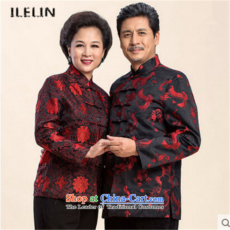 Ilelin2015 autumn and winter in the new elderly couples Chinese Mock-Neck Shirt Tang dynasty China wind happy Mum and Dad long-sleeved sweater red women?L