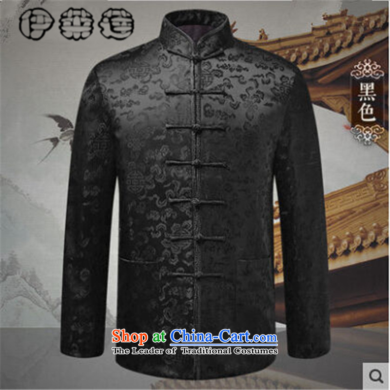 Hirlet Ephraim燼utumn 2015 installed new men Tang jackets in older long-sleeved sweater China wind embroidered with father word stamp collar ethnic men Black�0