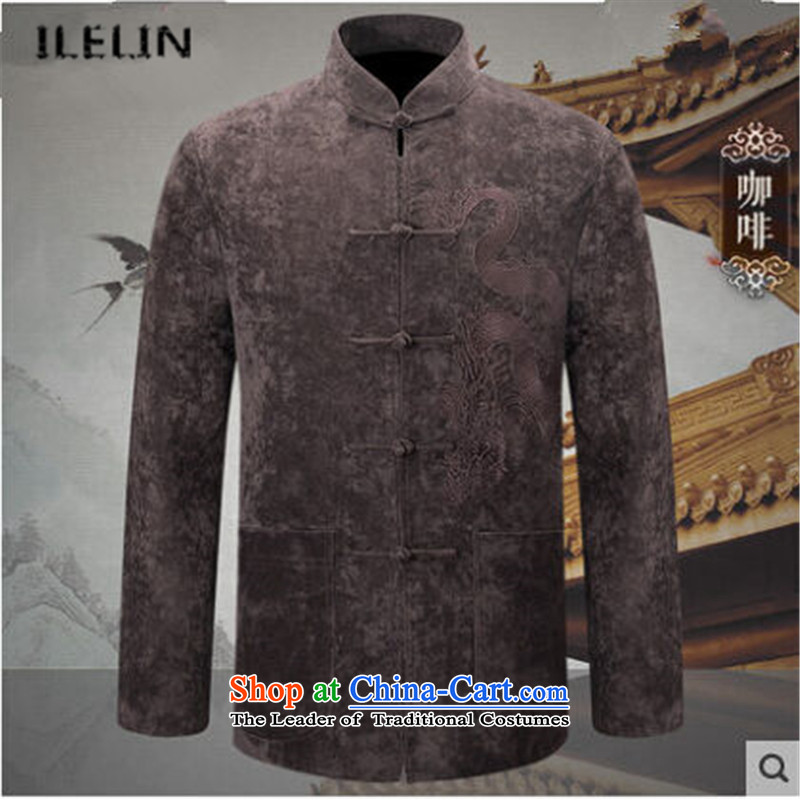 Ilelin2015 autumn and winter New China wind large long-sleeved blouses, Father Tang older retro collar grandpa leisure jacket coffee燤