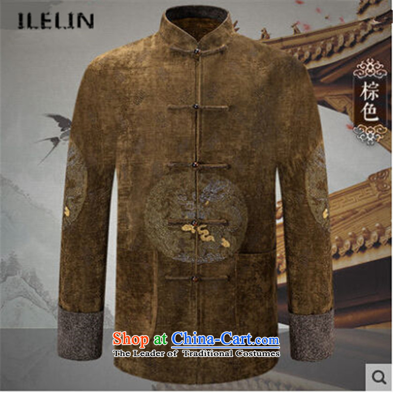 Ilelin2015 autumn and winter in the new elderly men long-sleeved shirt dad large Chinese Antique collar leisure Tang jackets brown燲XL