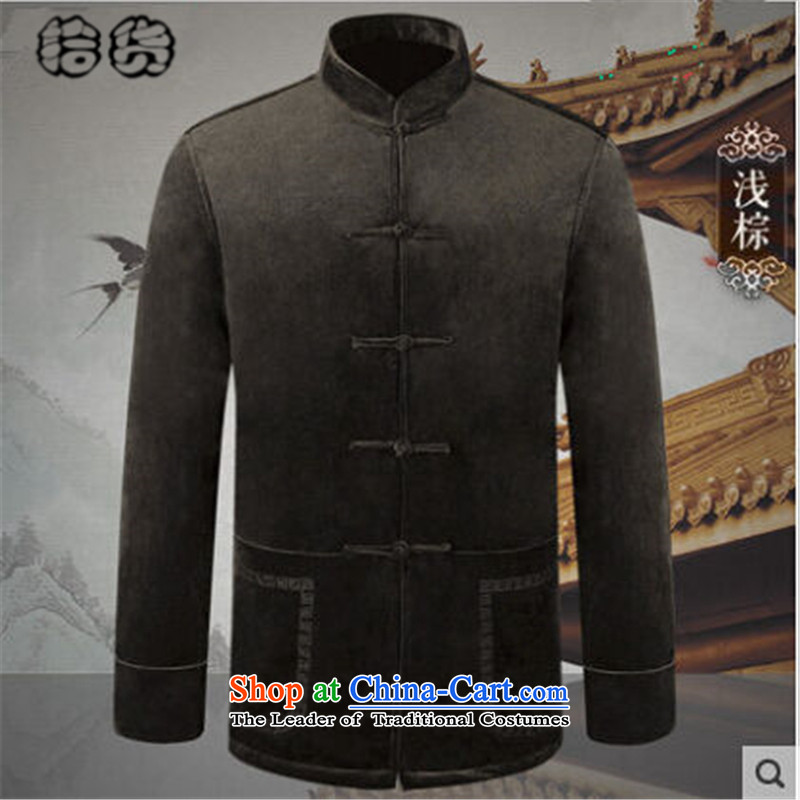 Pick the 2015 autumn and winter new elderly men with Grandpa Tang China wind jacket of older people in long-sleeved sweater pure color is detained father blouses light brown?M