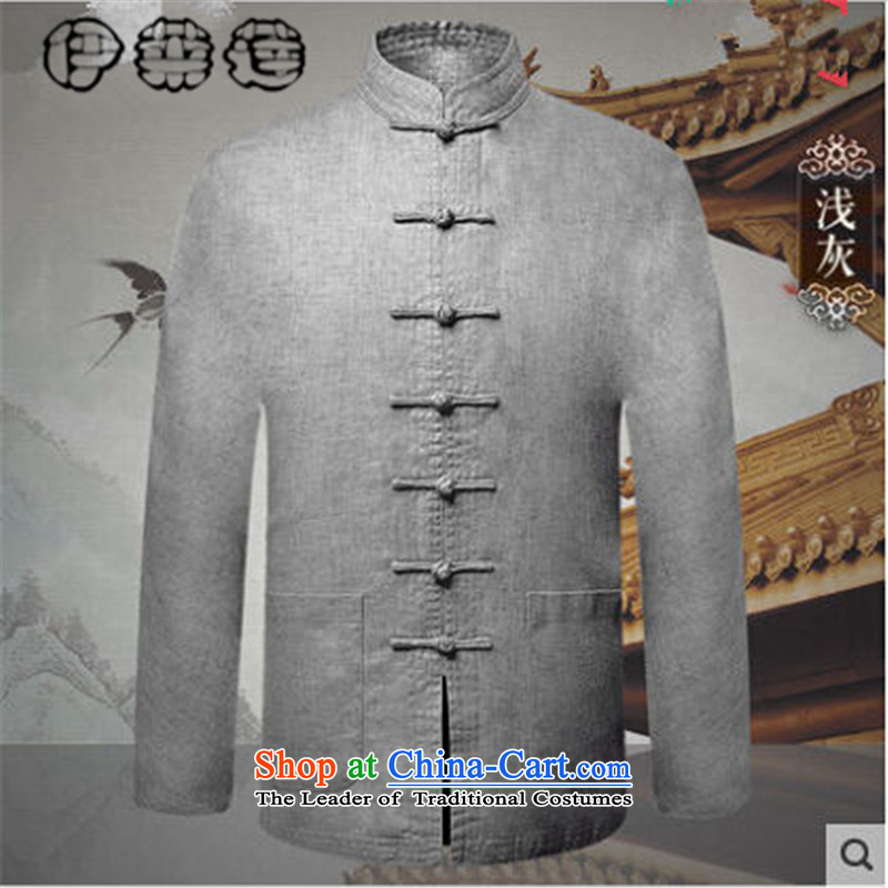 Hirlet Ephraim爄n autumn 2015, older Tang long-sleeved jacket jacket Chinese disc loading dad detained China Wind Jacket pure color national leisure men light gray�0