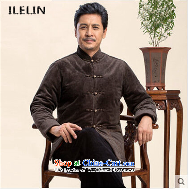 Ilelin2015 autumn and winter new Chinese Mock-Neck Shirt leisure large long-sleeved jacket China wind father retro leisure Tang dynasty聽XXXXL Brown