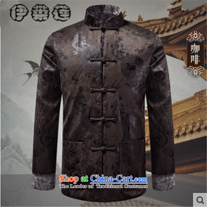 Hirlet Ephraim?2015 autumn and winter New Men Tang jacket tray clip collar Tang dynasty nation elderly men casual jacket middle-aged father installed China wind coffee?190