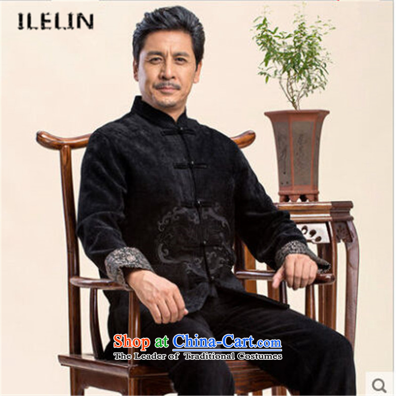 Ilelin2015 autumn and winter in the new elderly men's long-sleeved dad code Tang Blouses China wind retro collar leisure jacket black聽XXL