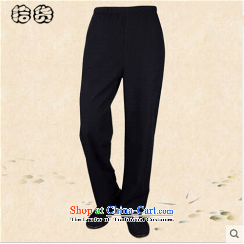 Pick the 2015 autumn and winter in the new age with men casual grandpa straight legged pants old folk weave China wind load father men short pants pant Black聽185