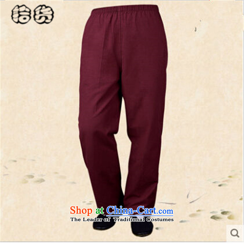 Pick the 2015 autumn and winter in the new age with men casual grandpa straight legged pants old folk weave China wind load father men short pants pant black 185 pickup (shihuo) , , , shopping on the Internet