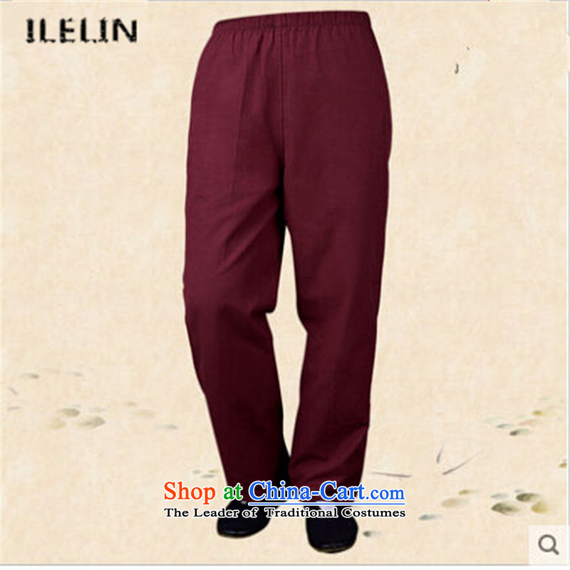 Ilelin2015 autumn and winter in the new elderly men father Tang pants Chinese classical liberal solid color elastic trousers Red? 180