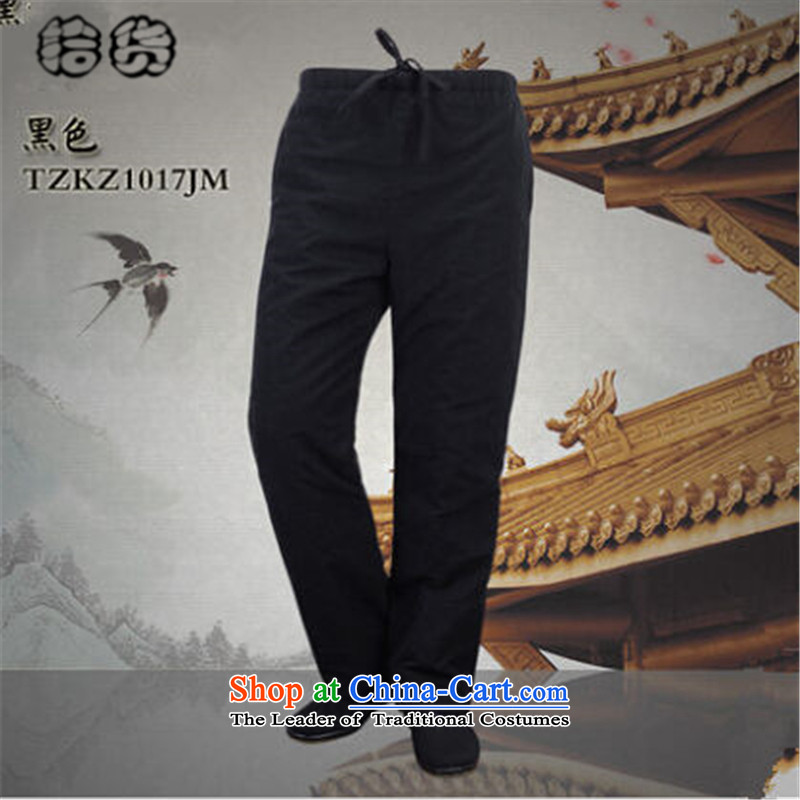 Pick the 2015 autumn and winter New China wind old folk weave Tang dynasty elderly through direct-legged pants of older persons in the men's father pants elasticated trousers Black聽190