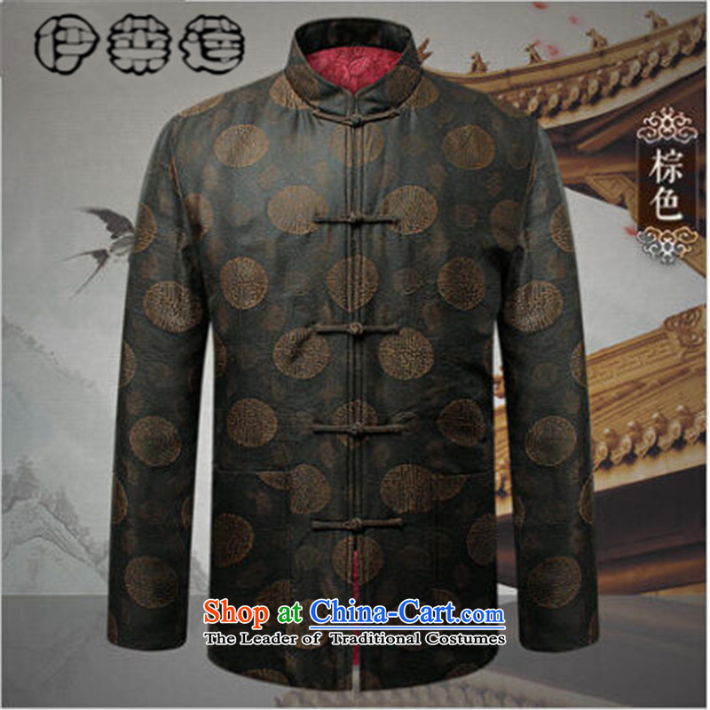 Hirlet Ephraim?autumn 2015 replacing Tang Dynasty Chinese collar embroidery round lung long-sleeved shirt butted to increase older emulating silk leisure Tang jackets brown?190