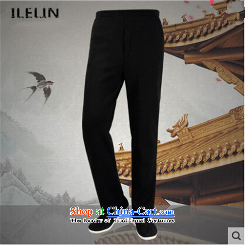 Ilelin2015 autumn and winter in the new large older loose pure color long pants China wind retro father Tang dynasty casual pants and black velvet聽XL