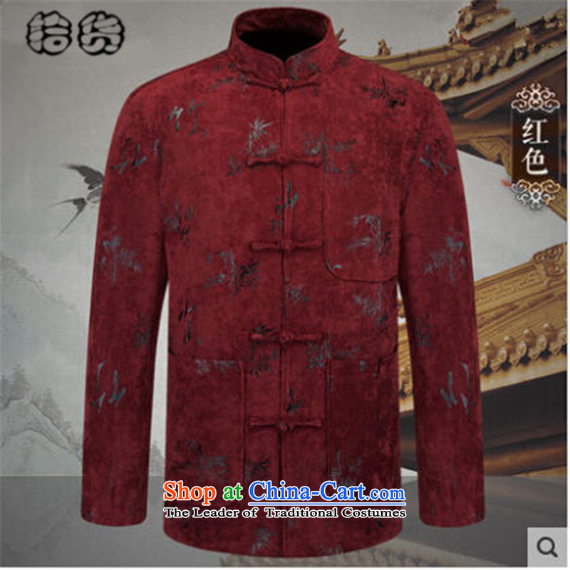 Pick the 2015 autumn and winter new ethnic men Tang jacket in older long-sleeved jacket stamp China wind of nostalgia for the solid color red聽XXXL Dad
