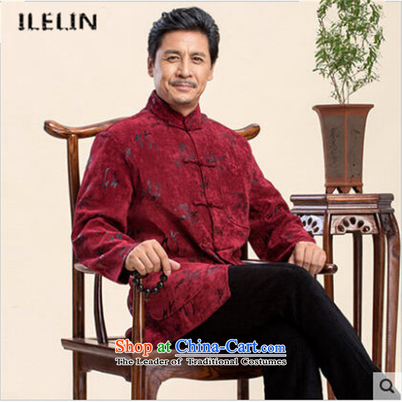 Ilelin2015 autumn and winter in the new age of Chinese Antique collar long-sleeved jacket Tang China Wind Jacket Red  XXXL dad relax