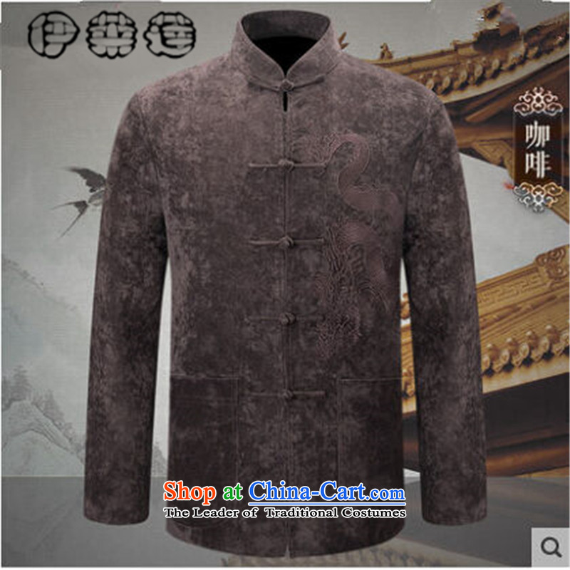 Hirlet autumn 2015 Chinese Tang Lin jacket men in long-sleeved older solid color name ethnic costumes Chinese father casual simplicity, T-shirt jacket coffee?XXL