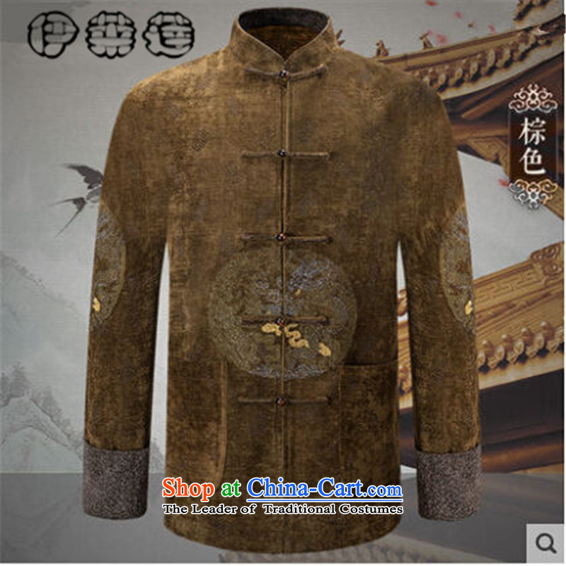 Hirlet Ephraim?autumn 2015 installed new men in the jacket Tang Older long-sleeved sweater China wind solid color embroidered words national retro father blouses Brown?M
