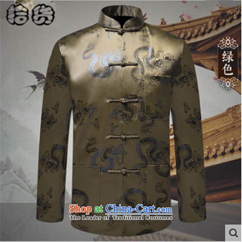 The 2015 autumn and winter pick the new and old age are larger men Happy Birthday Feast Tang jacket male in long-sleeved older retro ethnic Chinese father Tang blouses聽175L green