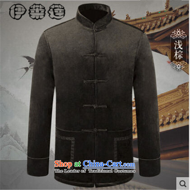 Hirlet Ephraim?autumn 2015 replacing Tang dynasty collar jacket men of older people in long-sleeved sweater and pure color is detained father blouses minimalist light brown jacket?4XL