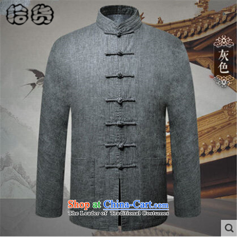 The 2015 autumn and winter pick the new and old age are larger men Tang Jacket coat leisure of long-sleeved Chinese disc loading dad detained China wind Tang blouses 175L Gray